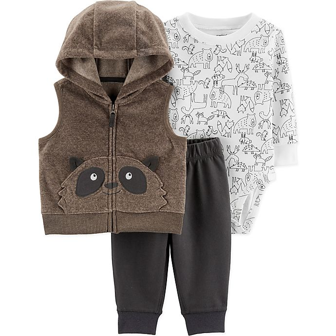 Alternate image 1 for carter's® 3-Piece Raccoon Fleece Vest, Animal Print Bodysuit, and Pant in Brown