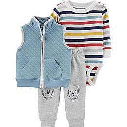 carter's® 3-Piece Striped Bodysuit, Quilted Vest, and Pant Set in Blue