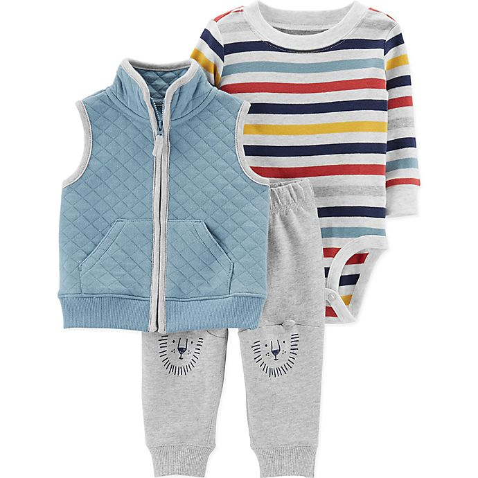 Alternate image 1 for carter's® 3-Piece Striped Bodysuit, Quilted Vest, and Pant Set in Blue