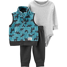 carter's 3-Piece Wildlife Fleece Vest, Striped Bodysuit, and Pant Set