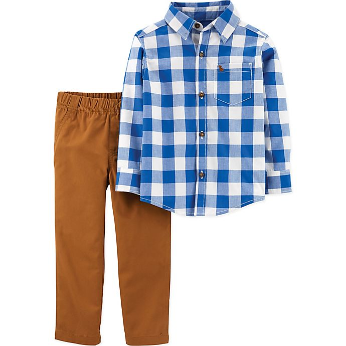 Alternate image 1 for carter's® 2-Piece Buffalo Plaid Shirt and Khaki Set in Blue