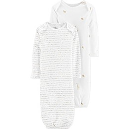 Touched by Nature Newborn 2-Pack Animals and Stars Organic Cotton Gowns in Ivory