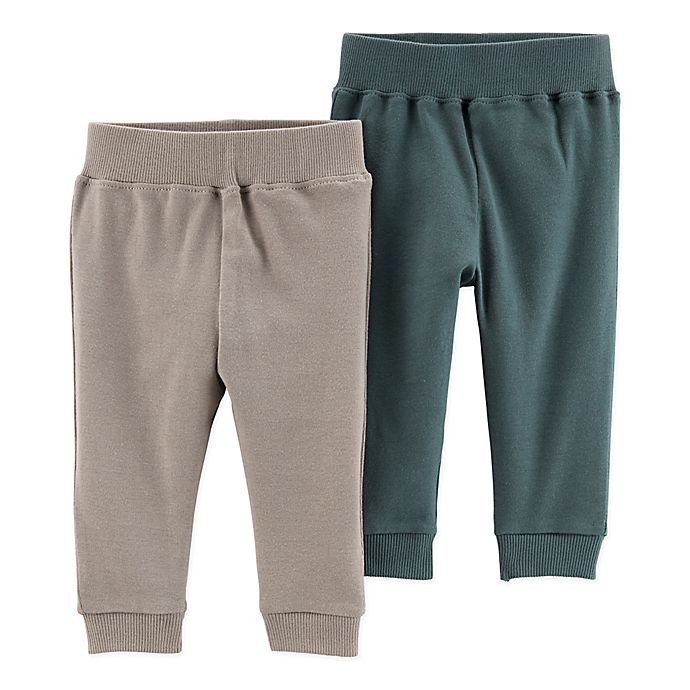 Alternate image 1 for Little Planet by carter's® 2-Pack Organic Cotton Pants in Grey/Teal
