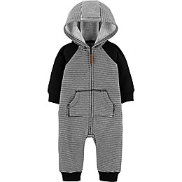 carter's® Dog and Stripes Hooded Coverall in Black