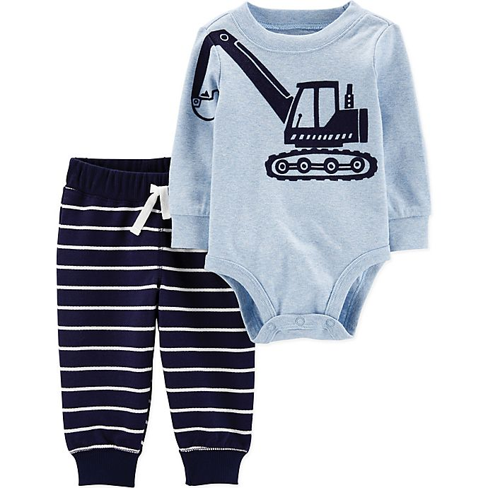 Alternate image 1 for carter's® 2-Piece Construction Bodysuit and Pant Set in Blue