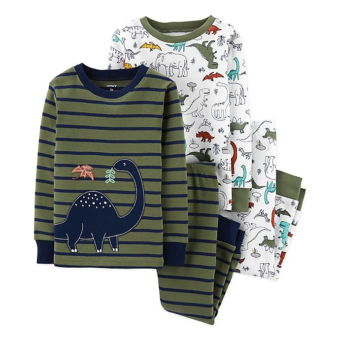 Alternate image 1 for carter's® 4-Piece Stripe Dinos Pajama Top and Pant Set in Green