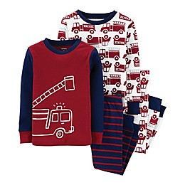 carter's® 4-Piece Fire Truck Pajama Top and Pant Set in Red/Navy