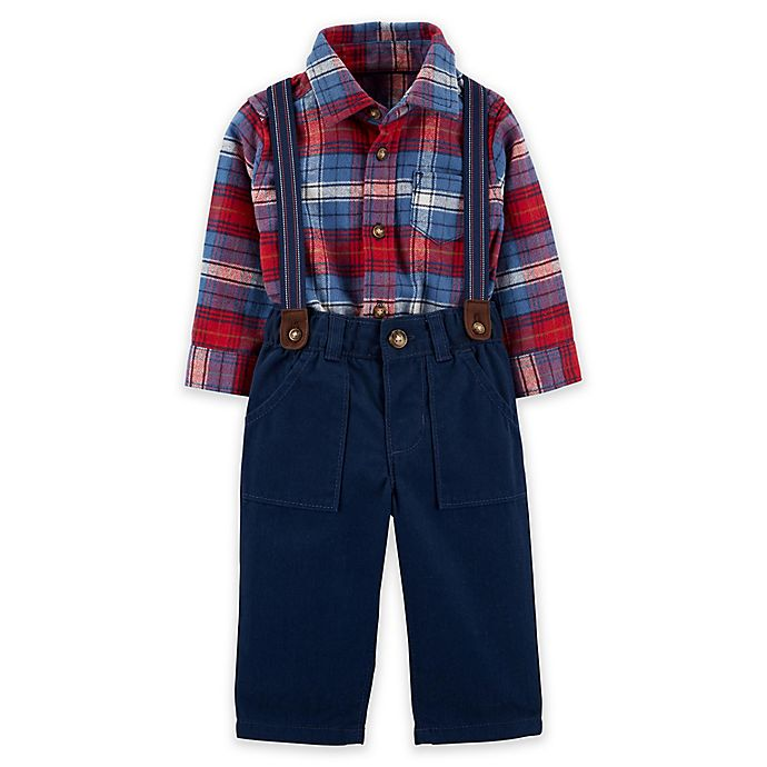Alternate image 1 for carter's® 3-Piece Plaid Bodysuit, Pant, and Suspenders Set in Navy/Red
