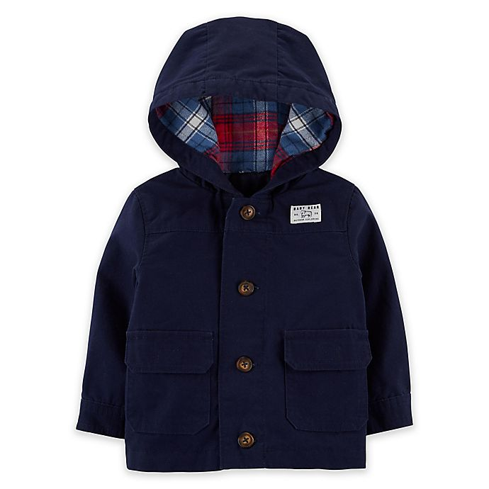 Alternate image 1 for carter's® Button-Front Hooded Jacket in Navy