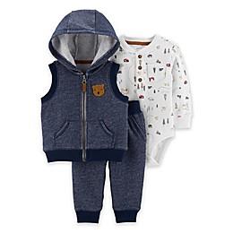 carter's® 3-Piece Bear Little Vest, Bodysuit, and Pant Set in Navy/Cream