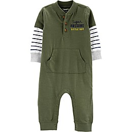 carter's® Super Awesome Little Guy Coverall in Olive