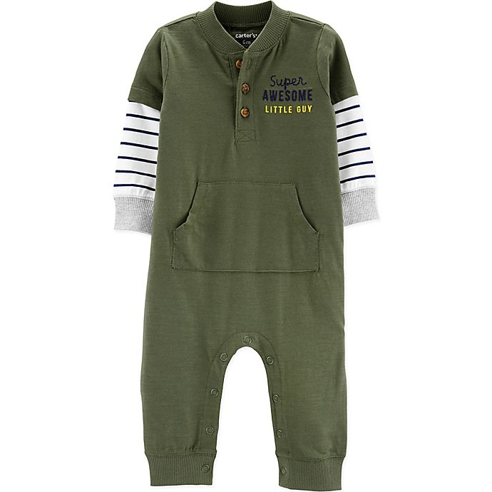 Alternate image 1 for carter's® Super Awesome Little Guy Coverall in Olive
