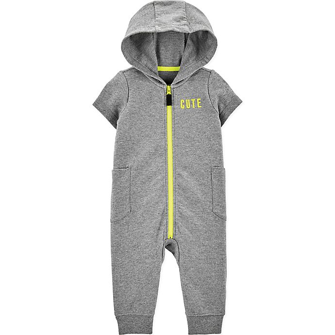Alternate image 1 for carter's® Cute Hooded Coverall in Grey