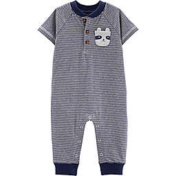 carter's® Stripe Critter Pocket Coverall in Navy