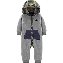 carter's® Hooded Camo Dino Coverall in Grey