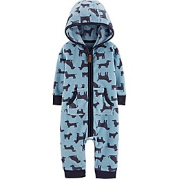 carter's® Hooded Dog Print Coverall in Blue