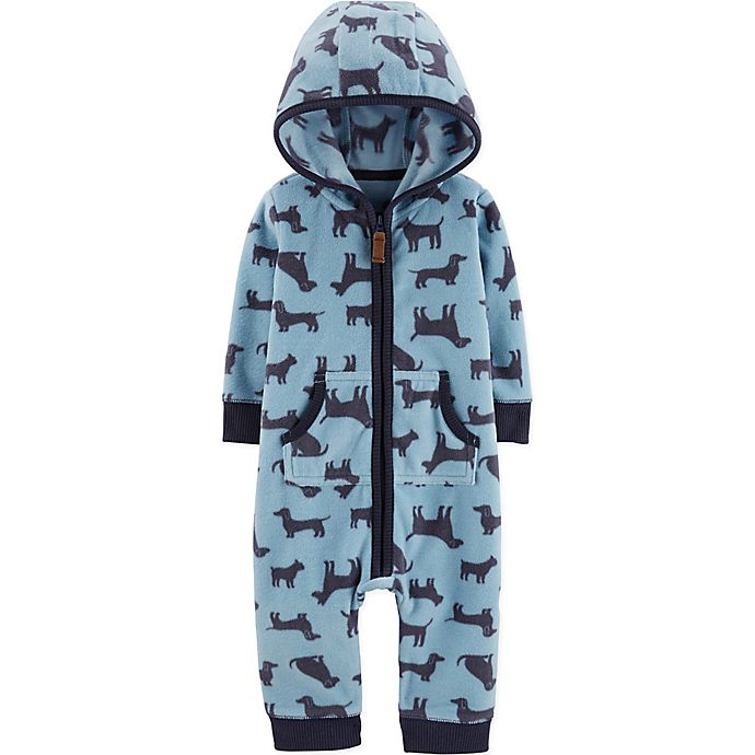 Alternate image 1 for carter's® Hooded Dog Print Coverall in Blue