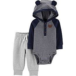carter's® 2-Piece Striped and Hooded Bear Bodysuit and Pant Set in Navy