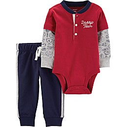 "carter's® 2-Piece ""Daddy's Team"" Henley Bodysuit and Pant Set in Red"