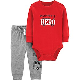 "carter's® 2-Piece ""Mommy's Hero"" Bodysuit and Pant Set in Red"