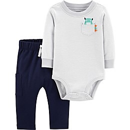 carter's® 2-Piece Stripe Monster Bodysuit and Pant Set in Grey