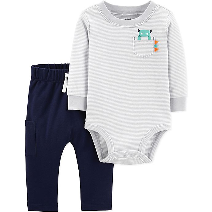 Alternate image 1 for carter's® 2-Piece Stripe Monster Bodysuit and Pant Set in Grey
