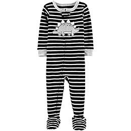 carter's® Dinosaur Stripe Toddler Footie in Black