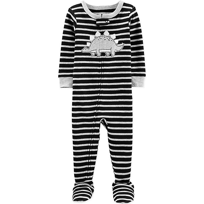 Alternate image 1 for carter's® Dinosaur Stripe Toddler Footie in Black