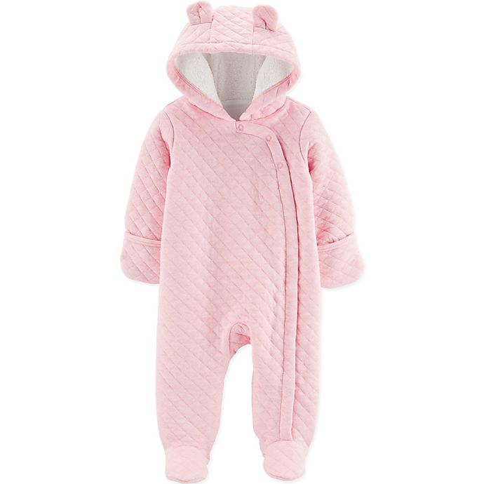 Alternate image 1 for carter's® Quilted Hooded Footie in Pink