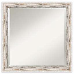 Amanti Art Alexandria White Wash 23-Inch Square Bathroom Vanity Mirror