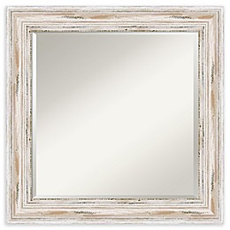 Amanti Art Alexandria White Wash 25-Inch Square Bathroom Vanity Mirror