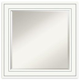 Amanti Art Craftsman 25-Inch Square Bathroom Vanity Mirror in White