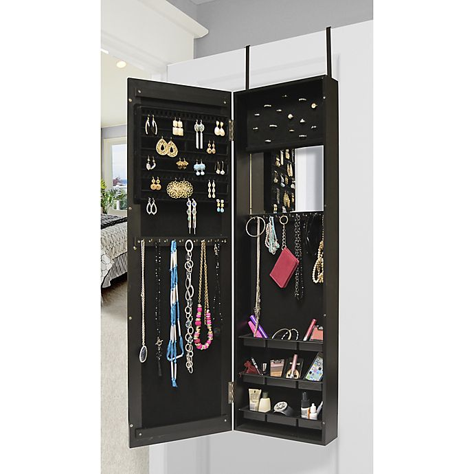 Alternate image 1 for Prinz Over the Door 40-Inch x 14-Inch Mirror and Jewelry Cabinet