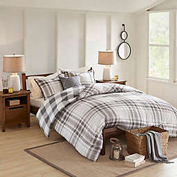 Madison Park Sheffield Cotton Printed Reversible Duvet Cover Set in Grey