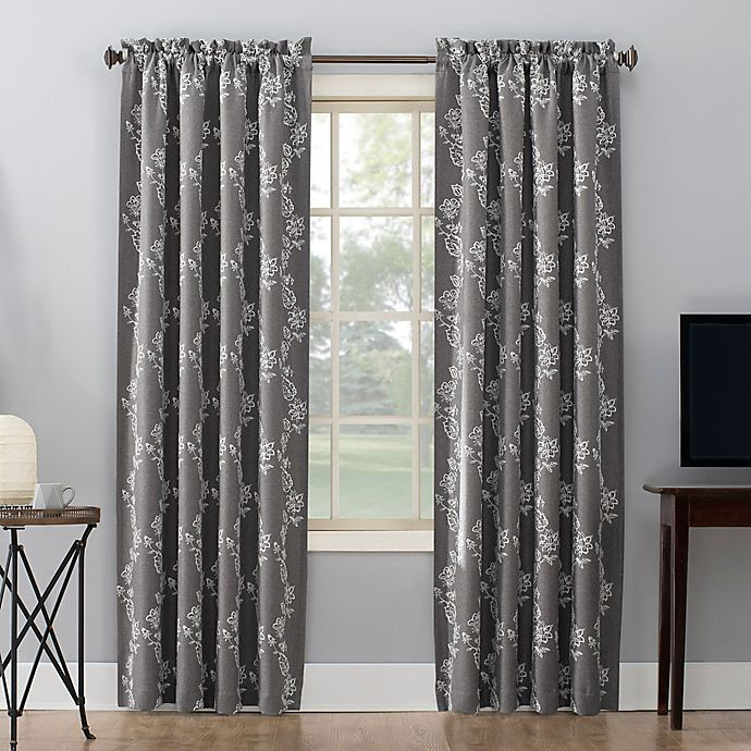 Alternate image 1 for Sun Zero® Floral Embroidery Rod Pocket Total Blackout Curtain Panel