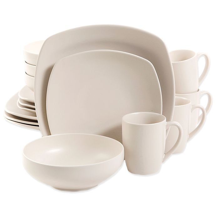 Alternate image 1 for Gibson Home Square Paradiso 16-Piece Dinnerware Set in Linen