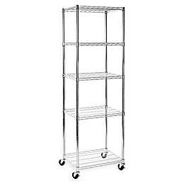 Seville Classics UltraDurable 5-Tier Steel Wire Shelving System with Wheels