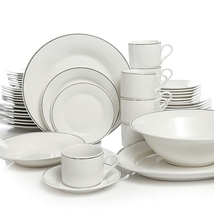 Gibson Home Studio Platinum 50 Piece Dinnerware Set Bed
