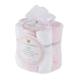 Piccolo Bambino® 10-Pack Woven Washcloths in Pink