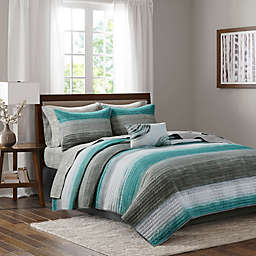 Madison Park Essentials Saben 8-Piece Reversible Queen Coverlet and Sheet Set in Aqua