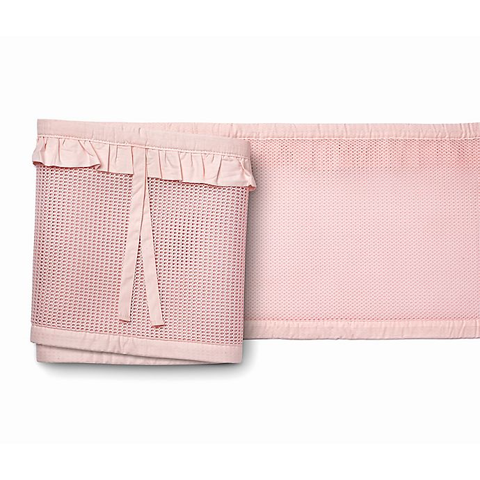 Alternate image 1 for BreathableBaby® Ruffled Deluxe Mesh Crib Liner in Blush