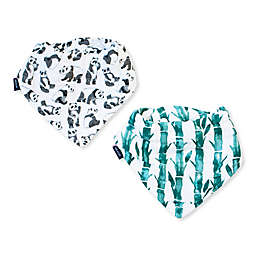 Bebe Au Lait® 2-Piece Panda and Bamboo Animal Bandana Bib Set