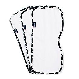 Bebe Au Lait® 3-Pack Floral Burp Cloths in White/Black