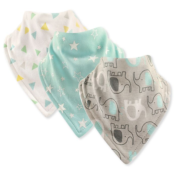 Alternate image 1 for Luvable Friends® 3-Pack Elephant Bandana Bibs in Grey
