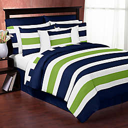 Sweet Jojo Designs Navy and Lime Stripe Bedding Collection