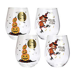 Table Art Perilous Pumpkins Stemless Wine Glasses (Set of 4)