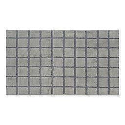 """Fashion Grid 24"""" x 40"""" Bath Rug in Grey"""
