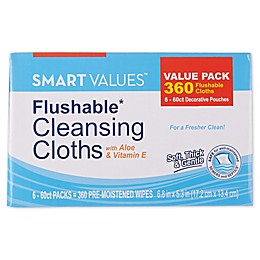 Smart Values™ 6-Packs 60-Count Flushable Moist Wipes