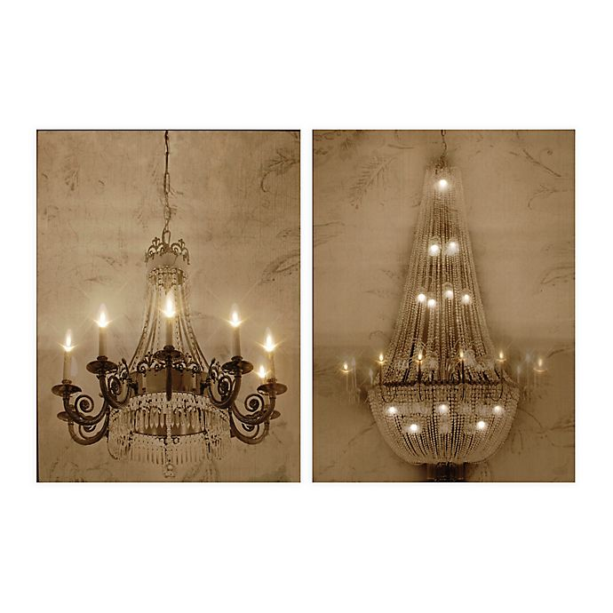 A B Home Chandelier Led Canvas Wall Art Set Of 2 Bed Bath Beyond