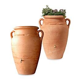 Roman Rain Barrel in Terracotta with Planter